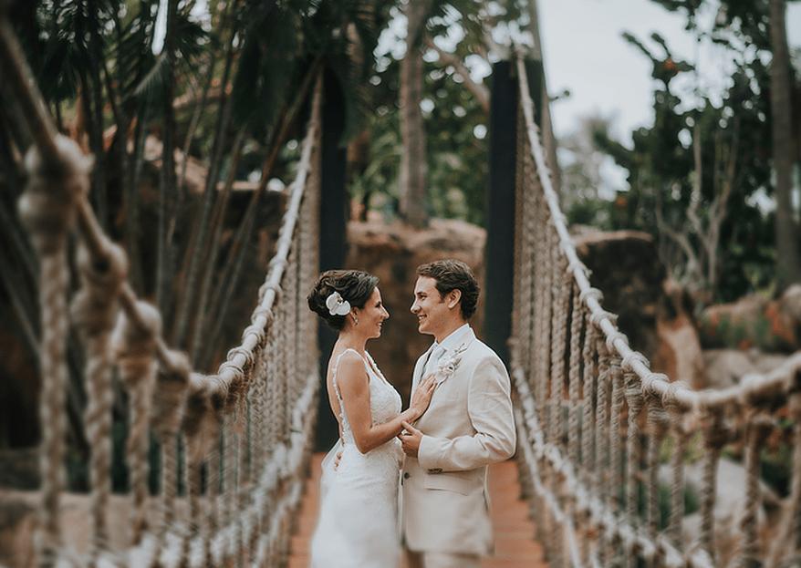 Cómo combinar mi vestido de novia y el traje de novio