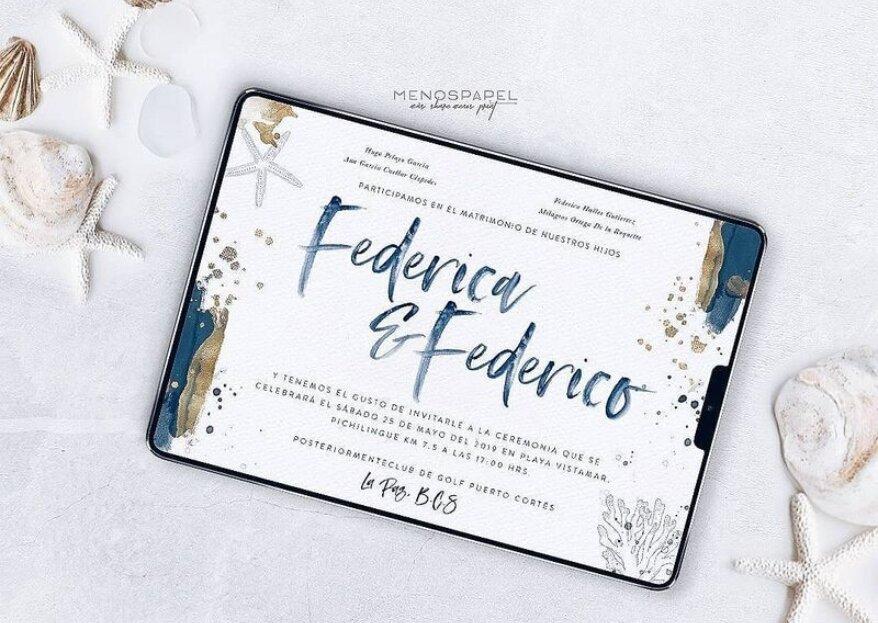 Menospapel diseña las invitaciones digitales más 'trendy' para bodas eco-friendly