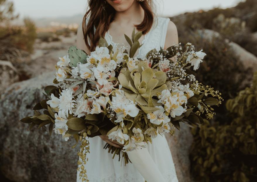 5 ramos de novia con suculentas que morirás por tener